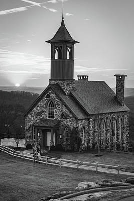 Photograph - Chapel Of The Ozarks Sunset At Top Of The Rock - Black And White by Gregory Ballos