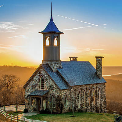 Photograph - Chapel Of The Ozarks - Top Of The Rock Sunset 1x1  by Gregory Ballos