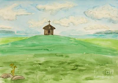 Painting - Chapel On Field, Painting by Irina Afonskaya