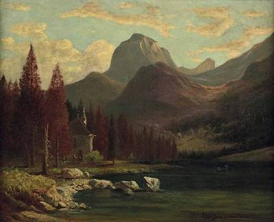Chapel On Hintersee In Berchtesgaden Print by Celestial Images