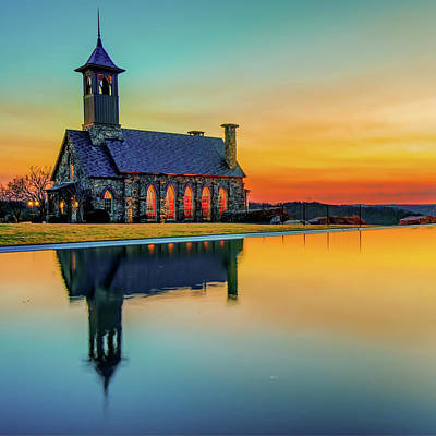 Photograph - Chapel Reflections - Top Of The Rock - Ridgedale Missouri by Gregory Ballos