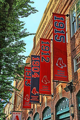 Photograph - Championship Banners - Fenway Park by Allen Beatty