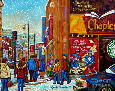 Painting - Chapters Book Shop Downtown Montreal Memories Winter Street Scene Painting Hockey Art Carole Spandau by Carole Spandau