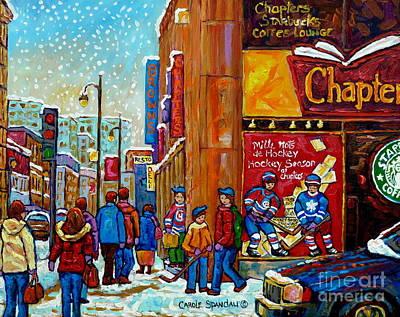 Chapters Book Shop Downtown Montreal Memories Winter Street Scene Painting Hockey Art Carole Spandau Art Print