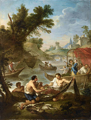 Charles-joseph Natoire Painting - The Fishing by Charles-Joseph Natoire