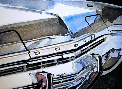 Chrome Bumper Painting - Charcoal Chrome And Blue by Spencer Meagher