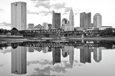 Photograph - Charcoal Columbus Day Reflection by Frozen in Time Fine Art Photography