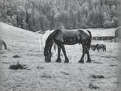 Textured Horse Art Drawing - Charcoal Drawing The Rural Landscape In Switzerland by Eiko Tsuchiya