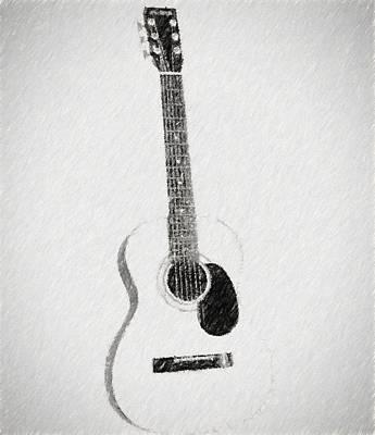 Musicians Drawings - Charcoal Guitar Sketch by Dan Sproul