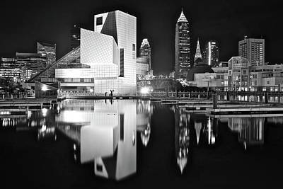 License Plate Skylines And Skyscrapers Rights Managed Images - Charcoal Night on The Lakefront Royalty-Free Image by Frozen in Time Fine Art Photography