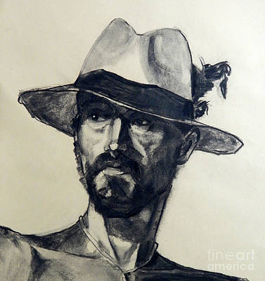 Painting - Charcoal Portrait Of A Man Wearing A Summer Hat by Greta Corens