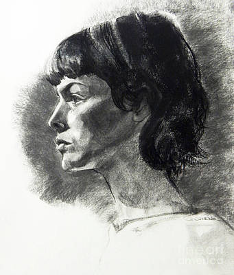 Drawing - Charcoal Portrait Of A Pensive Young Woman In Profile by Greta Corens