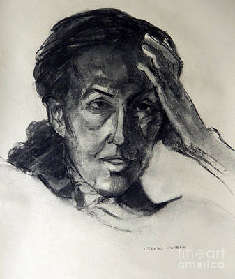Painting - Charcoal Portrait Of An Artist by Greta Corens