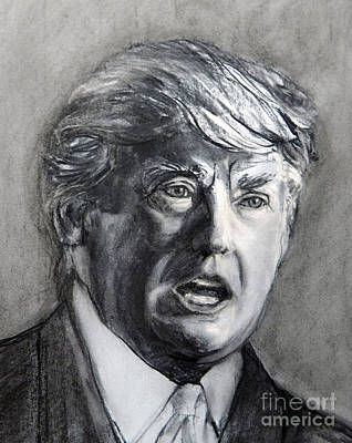 Painting - Charcoal Portrait Of The Donald by Greta Corens