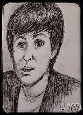 Musicians Drawings - Charcoal Portrait of Paul McCartney by Joan-Violet Stretch