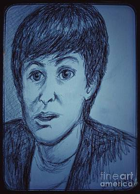 Drawing - Charcoal Sketch Of Paul Mccartney In Blue by Joan-Violet Stretch