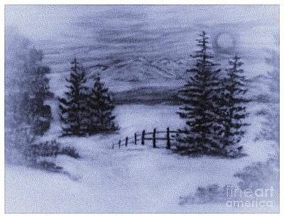 Charcoal Winter Mountain Scene  Art Print by Debra Lynch