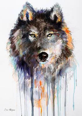 Wolf Watercolor Painting - Charcoal Wolf  by Slavi Aladjova
