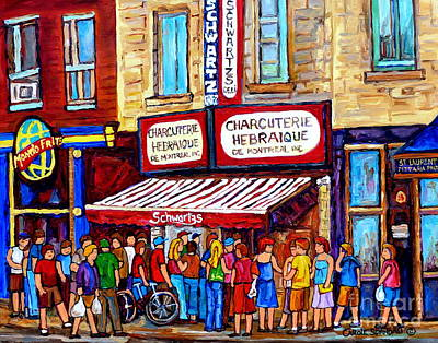 Painting - Charcuterie Hebraique Schwartz Line Up Waiting For Smoked Meat Montreal Paintings Carole Spandau     by Carole Spandau