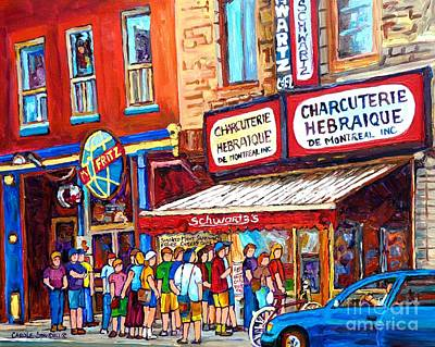 Montreal Restaurants Painting - Charcuterie Schwartz Line Up Montreal Summer Scene Painting Rue St Laurent Carole Spandau by Carole Spandau