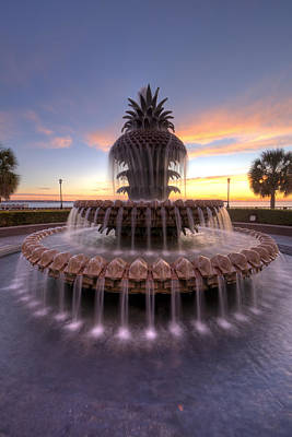 Pineapple Digital Art - Charelston Pineapple Fountain Sunrise by Dustin K Ryan