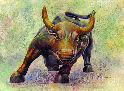 Animal Portraits - Charging Bull by Hailey E Herrera