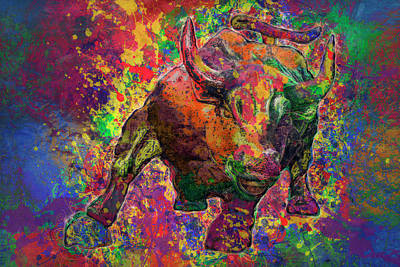 Lucky Mixed Media - Charging Bull by Jack Zulli