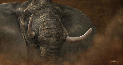 Digital Art - Charging Elephant by Kathie Miller