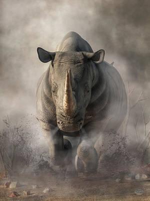 Animals Digital Art - Charging Rhino by Daniel Eskridge