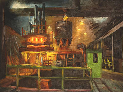 Charging The Arc Furnace Art Print by Martha Ressler