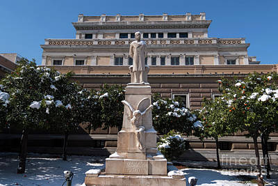 Photograph - Charilaos Trikoupis Statue With Snow by George Atsametakis