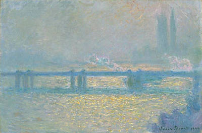 Outlook Painting - Charing Cross Bridge, Overcast Day by Claude Monet