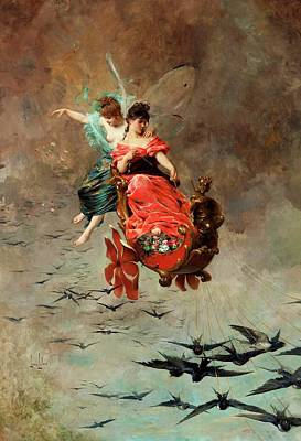 Painting - Chariot Of Swallows by Alexander Louis Leloir