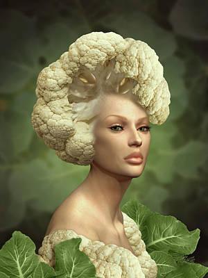 Cauliflower Wall Art - Mixed Media - Charismatic Cauliflower by Britta Glodde
