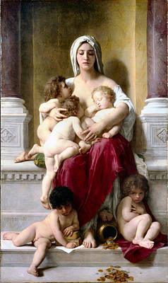 Painting - Charity 1878 by Willam Bouguereau