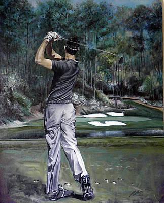 Painting - Charl  Schwartzel At Amen Corner - The Masters by Mark Robinson