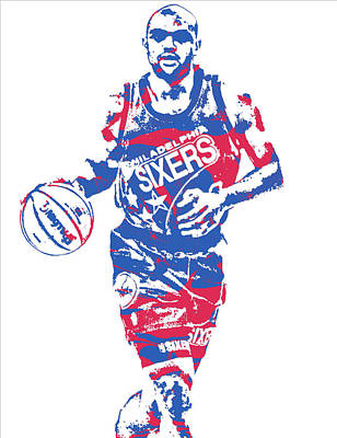 Mixed Media - Charles Barkley Philadelphia 76ers Pixel Art 6 by Joe Hamilton
