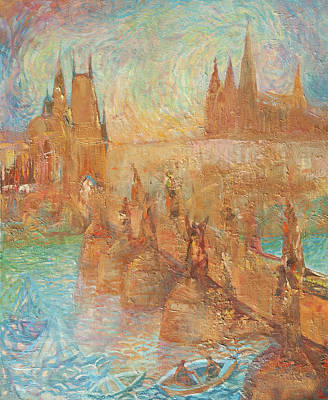 Painting - Charles Bridge And St Vitus Cathedral. Golden Prague by Anna Skorko