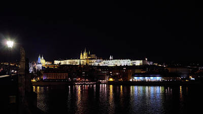 Photograph - Charles Bridge And The Castle Of Prague. Prague Spring 2017 . Prague By Night by Jouko Lehto