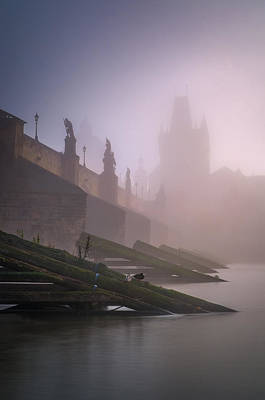 Charles Bridge At Autumn Foggy Day, Prague, Czech Republic Art Print
