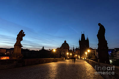 Karluv Most Photograph - Charles Bridge At Sunrise, Prague, Czech Republic. Dramatic Statues And Medieval Towers. by Michal Bednarek