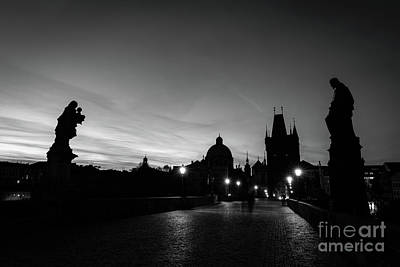 Photograph - Charles Bridge At Sunrise, Prague, Czech Republic. Statues, Medieval Towers In Black And White by Michal Bednarek