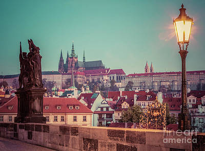 Castle Photograph - Charles Bridge At Sunrise, Prague, Czech Republic. View On Prague Castle With St. Vitus Cathedral. by Michal Bednarek