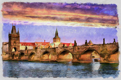 Vltava River Digital Art - Charles Bridge At Sunset by Richard Stephen