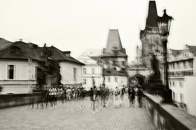 Photograph - Charles Bridge. Black And White. Impressionism by Jenny Rainbow