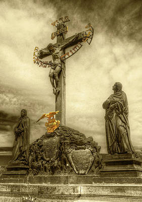 Photograph - Charles Bridge Crucifix  by Michael Kirk