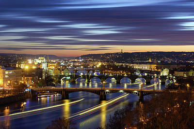 Charles Bridge During Sunset With Several Boats, Prague, Czech Republic Art Print