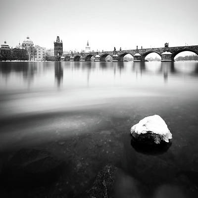 Charles Bridge During Winter Time With Frozen River, Prague, Czech Republic Art Print