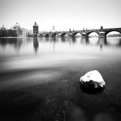 Charles Bridge During Winter Time With Frozen River, Prague, Czech Republic Art Print