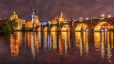 Charles Bridge In Prague At Night Art Print